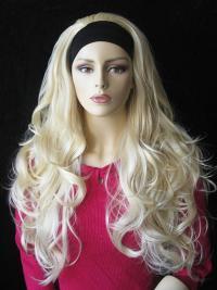 Blonde Gewellten Haarschnitt 3/4 Perücken