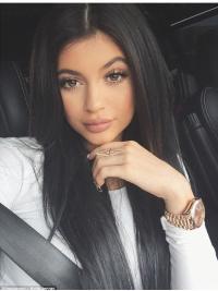 Kylie Jenners Lange Glatte Schwarze Hohe Qualität Perücken