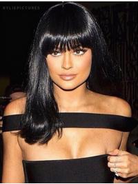 Kylie Jenners Lange Glatte Schwarze Preiswerte Perücken