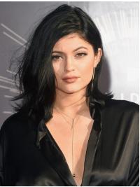 Kylie Jenners Halblange Gewellte Schwarze Wunderbare Perücken